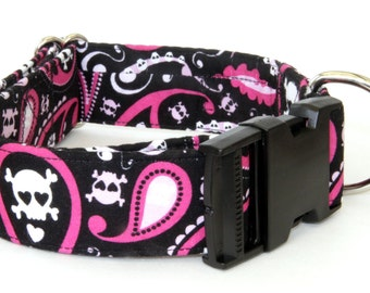 Dog Collar - Paisley Skull n Crossbones - Martingale & Buckle 3/4 - 2 Inch Width - Whippet, Greyhound Dog collar