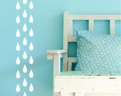 Raindrop Shaped Wall Decals - Set of 100 3 Inch Vinyl Wall Decals 45 Color Options Nursery or Kid Room Decor Rain Drop Teardrop Wall Sticker