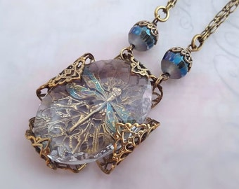 Dragonfly necklace, dragonfly jewelry,  Art Deco statement necklace, filigree jewelry, dragonfly pendant necklace, fantasy jewelry