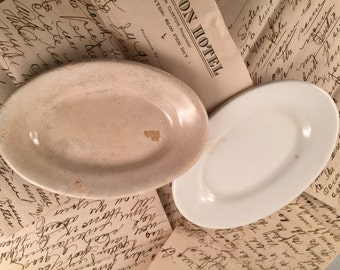 Pair of Antique/Vintage Small White Oval Ironstone Platters