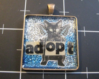100% Donation: Night Sky Swirl Black Cat Pendant, All proceeds go to the current selected animal charity