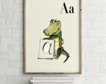 A for Alligator - Alphabet art - Alphabet print - ABC wall art - ABC print - Nursery art - Nursery decor - Kids room decor
