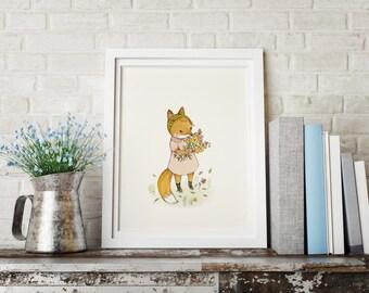 Spring Fox Polly - Animal Art - Holli - Nursery Wall Art - Nursery Decor - Childrens Art - Kids Wall Art - Nursery Art