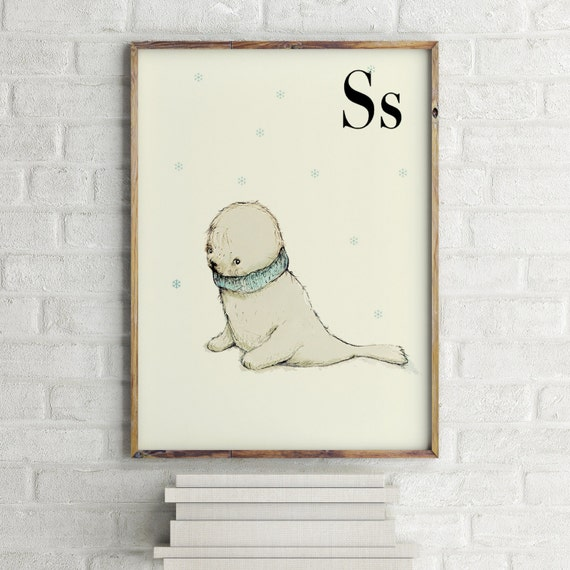 S for seal - Nursery animal wall art - Nursery animal print - Alphabet letters - Alphabet Print