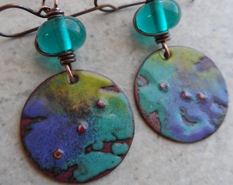 Teal Love ... Lampwork and Enameled Copper Wire-Wrapped Rustic, Boho Earrings