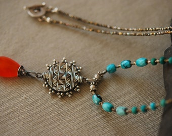 Turquoise Carnelian Necklace, Long, Beaded, Sterling Silver and Antique Reclaimed French Steel Beads from Handbags