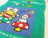 Vintage 1990's Sanrio Lunch Bag Kero Kero Keroppi Lunchbag Vintage Sanrio Vintage Japanese Kawaii Cloth Bag Frog Bento Bag Drawstring Bag