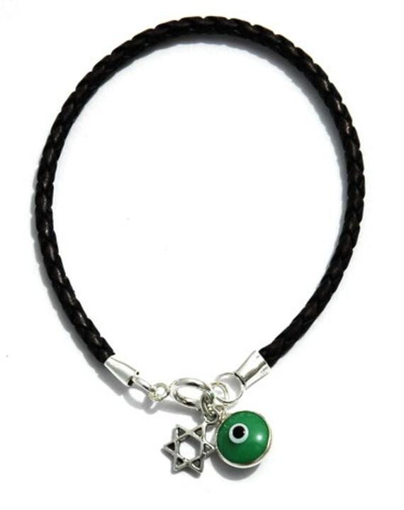 Protection Silver Star of David Leather Bracelet