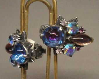 Vintage 1950s Purple Clip signed Florenza earrings, Prong set rhinestones in various shapes set in dark silver tone metal, Very Pretty Pair
