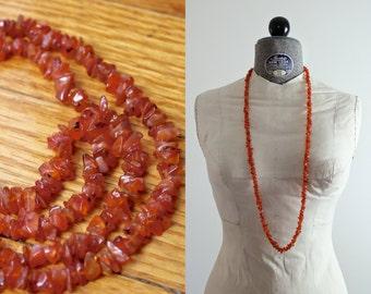 Tangerine Quartz Necklace • Quartz Crystal Necklace • 1930s Necklace • Strand Necklace • Coral Necklace • Flapper Necklace • Raw Quartz