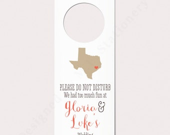 Wedding Door Hanger, Do Not Disturb Sign, State Themed Wedding, Unique Wedding Favor, Wedding Welcome Bag, Hotel Door Hanger, Texas Wedding