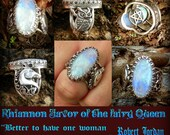 Rhiannon Favor or the fairy Queen Rainbow moonstone and Hidden Pentacle owl and Horse