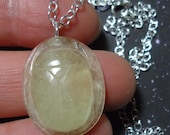 On Sale LDG SCARAB Libyan Desert Glass Tektite Meteorite Top Quality Scarab Carving Pendant Sterling Silver Chain Necklace Extremely RARE