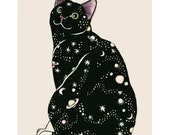 "Cat Art print -  Galaxy Cat - 4"" X 6"" - 4 for 3 SALE"