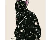 """Cat Art print -  Galaxy Cat - 4"""" X 6"""" - 4 for 3 SALE"""