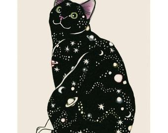 """Cat Art print -  Galaxy Cat - 8.3"""" X 11.7"""" print - 4 for 3 SALE"""