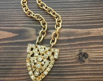 SALE - Arrowhead Gold Rhinestones Chunky Chain Multi Tone Metal Boho