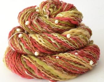Handspun Yarn -  Merino Yarn - Freshwater Pearls - 1.75oz, 176yd, 18WPI