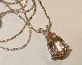 Bi-Color Beryl Pendant Necklace in Sterling Silver - Genuine, Natural Beryl Heliodor Morganite