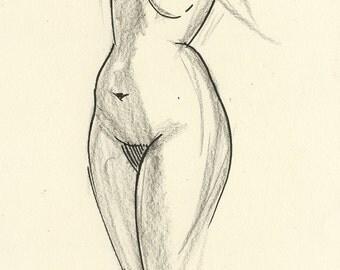 Original Charcoal and Ink Gesture Sketch Life Drawing of Standing Female Nude Figure - Rae Torso