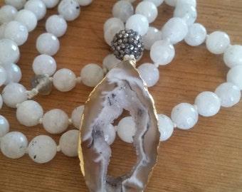 Agate Geode Pendant Moonstone Mala Necklace