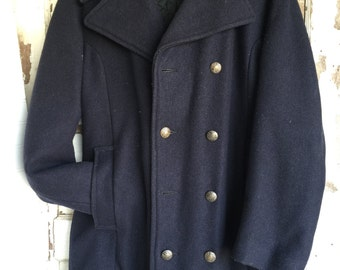 Vintage Pea Coat - 1950s Blue Wool - Made in Canada - Mens 38 - As is