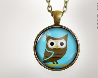 Cute Owl BLU : Glass Dome Necklace, Pendant or Keychain Key Ring. Gift Present metal round art photo jewelry HomeStudio Silver Copper Bronze