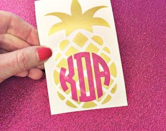 Monogram Pineapple Decal / Monogrammed Pineapple / Pineapple Car Decal / Yeti Tumbler Decal / Personalized Pineapple Decal / Tumbler Decal
