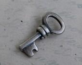 tiny skeleton key necklace charm ... authority, sentiment , possibility - sterling silver skeleton key jewelry