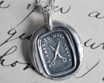 scissors wax seal necklace - we part to meet again - going away gift - silver wax seal jewelry