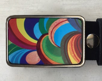 Welcome to the 60's!  Psychadelic design!  Belt Buckles for men and women.  Hippie clothes!