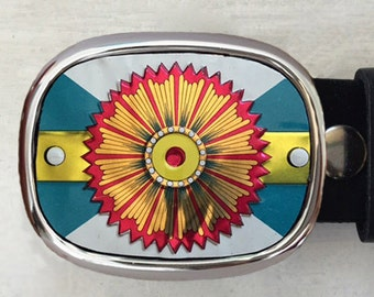 Turquoise Belt Buckle.  Custom belt buckles for men and women.  Cut from cookie tin from France.