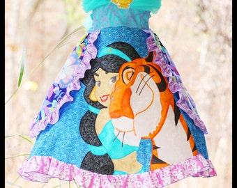 "Custom Boutique Jasmine Applique ""Make Believe"" Princess Dress sizes 4-16 by Bullfrogs N Fireflies"