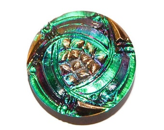 Gold Design on Irridized Green and Purple Czech Glass Button; 28mm