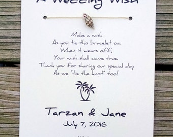 Tropical Romance - A Wedding Wish with a Genuine Shell - Wish Bracelet Wedding Favor Custom Made for You