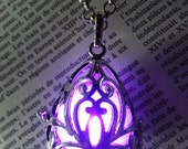 Necklace - Drop locket with purple glowing orb