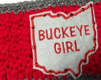 Women's // Crochet Headwrap //  Crochet Headband // Crochet Earwarmer // Buckeye Girl // Handmade