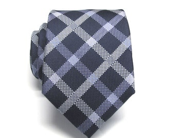 Mens Tie. Navy Blue Silver Lavender Plaid Mens Necktie with Matching Pocket Square Option