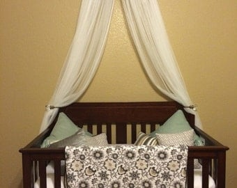 Crib Canopy Crown Gender Neutral Bed Burlap Linen Gray Nursery FREE white sheer curtains INCLUDED Custom Baby designed So Zoey Boutique SALE