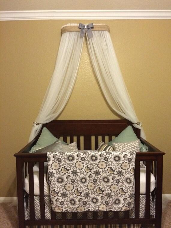 Crib canopy crown gender neutral bed burlap linen gray nursery for Nursery crown canopy