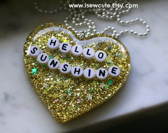 Hello Sunshine, Happy Statement Necklace, Positive Thinking Inspiration Inspiring Sunny Resin Glitter Heart Pendant Necklace by isewcute