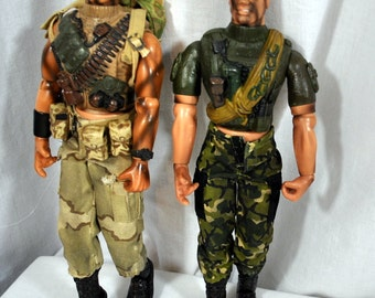 Lot of Two Action Figures  1/6  G. I. Joe Spinoff Army Men Dolls by Lanard Toys
