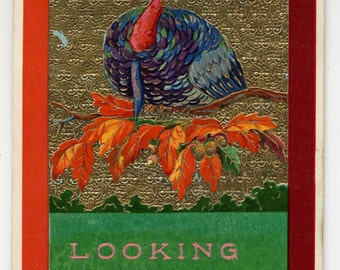 Happy Thanksgiving Postcard - Colorful Image - Turkey - Fall Leaves