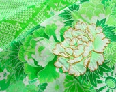 Vintage Japanese Kimono Fabric - A Shock of Lime Green - ONLY PIECE