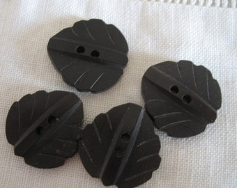 Set of 4 VINTAGE Carved Black Plastic Leaf BUTTONS