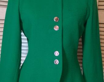80s Designer Kasper for ASL Jewel Tone Emerald Green Wool Blazer Jacket