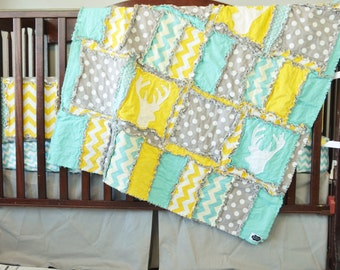 Woodland Crib Quilt - Woodland Nursery Blanket - Gender Neutral Crib- Yellow and Blue Baby Blanket- Boy Deer Quilt - Woodland Crib Bed Quilt