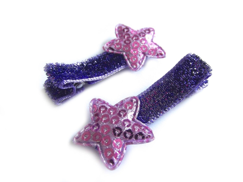 Purple Star Hair Clips Purple Hair Clips Purple Glitter Hair