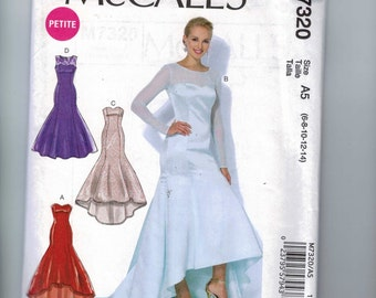 Misses Sewing Pattern McCalls M7320 7320 Misses Fishtail Formal Dress Fitted Strapless Petite Size 6 8 10 12 14 UNCUT