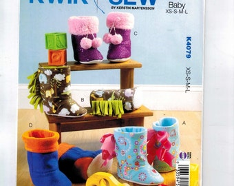 Craft Sewing Pattern Kwik Sew K4079 4079 Toddler Slippers Shoes Boots Footwear Size XS-L UNCUT  99